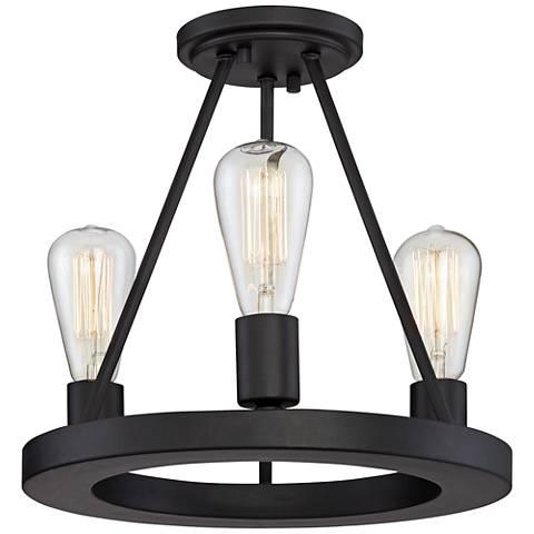"Lacey 13""W Black 3-Light Ceiling Light w/ LED Edison Bulbs"