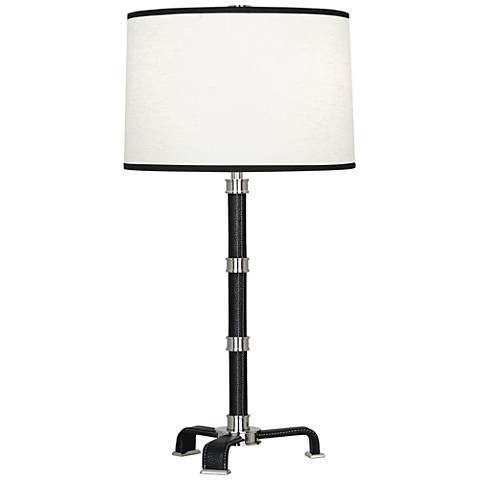 Voltaire Polished Nickel with Black Leather Table Lamp