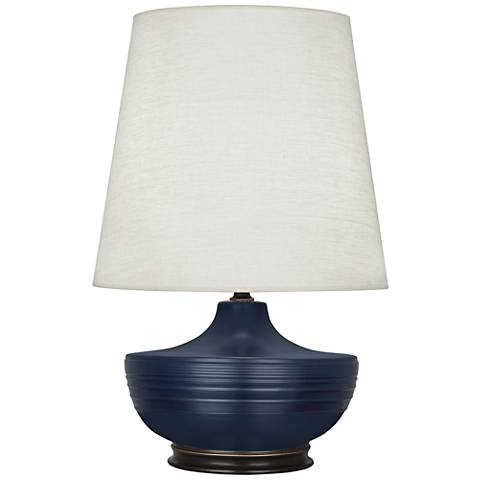 Nolan Matte Midnight Blue and Patina Bronze Table Lamp