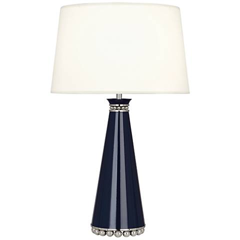 Pearl Midnight Blue and Nickel Table Lamp w/ Fondine Shade