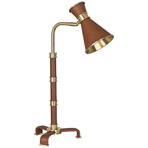 Voltaire Modern Brass with Saddle Leather Desk Lamp