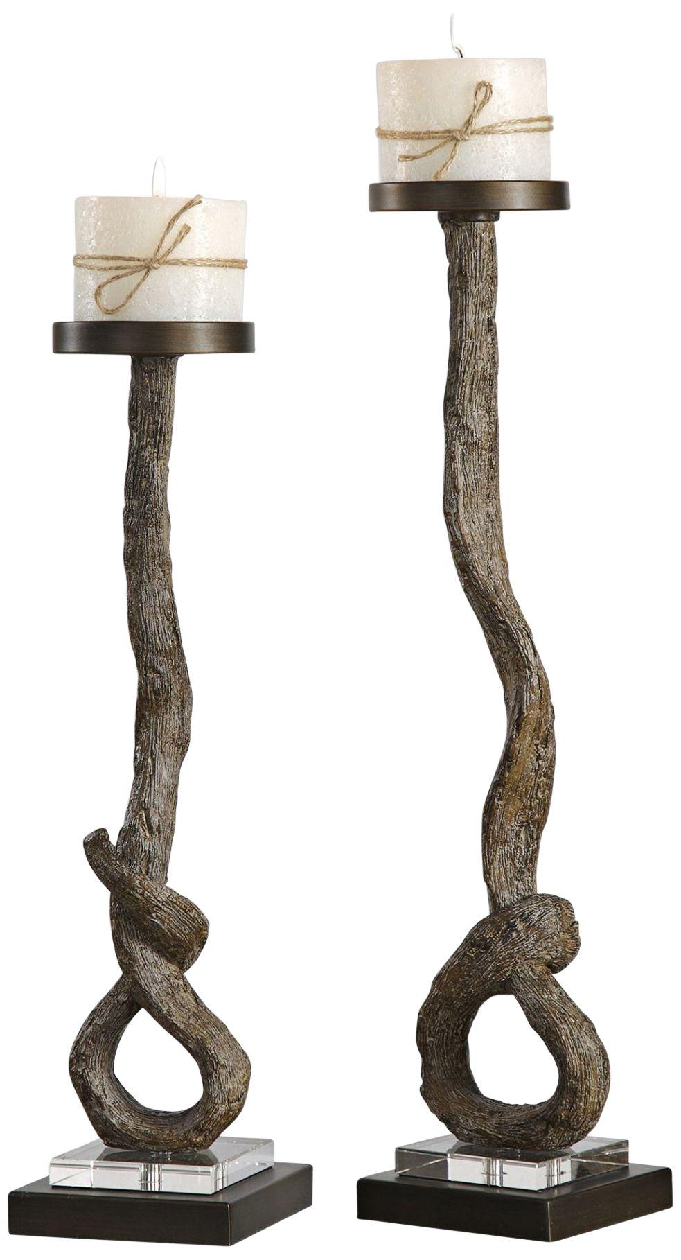 frances antiqued bronze 2piece pillar candle holder set