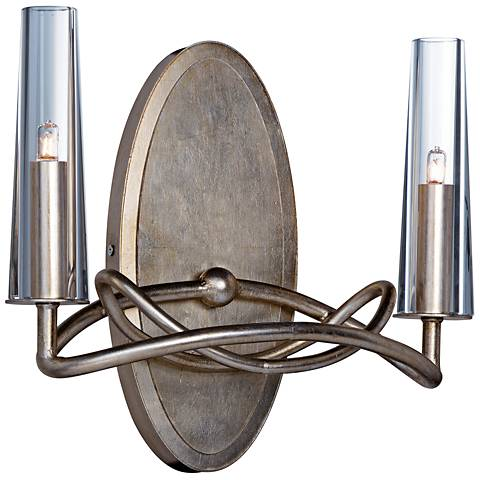 "Maxim Entwine 11 3/4"" High Golden Silver 2-Light Wall Sconce"