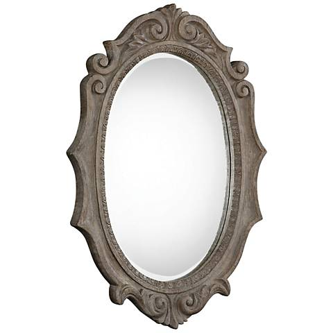 "Uttermost Serafina Old Wood 30"" x 42 1/2"" Oval Wall Mirror"