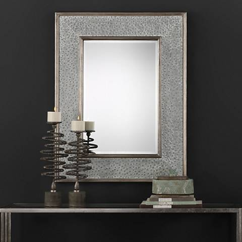 """Draven Taupe Gray Wash 40"""" x 52"""" """"Oversized Wall Mirror"""