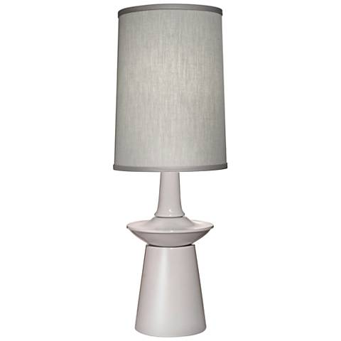 Stiffel Carson Converse Gloss White Table Lamp w/ Gray Shade
