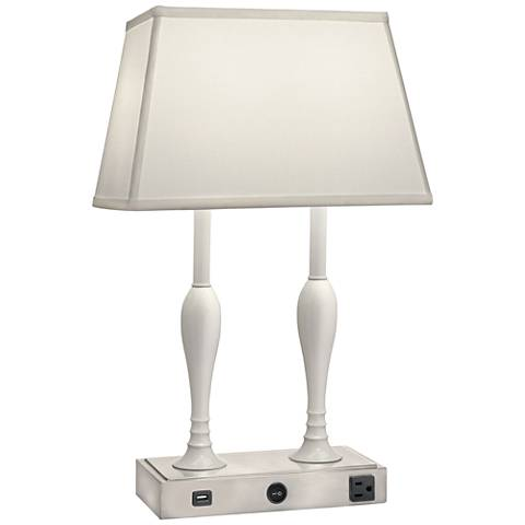 Allie Nickel and White Desk Lamp w/ USB Port and Outlet