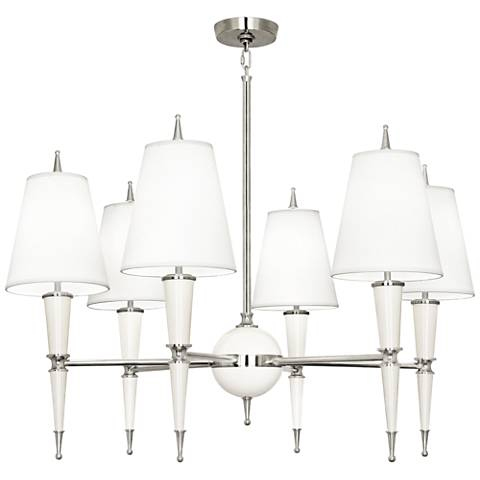 """Versailles 36 3/4"""" Wide Lily Lacquer 6-Light Chandelier"""