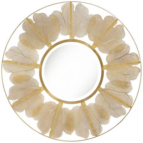 "Uttermost Delya Gold Leaf Metal 34"" Round Wall Mirror"