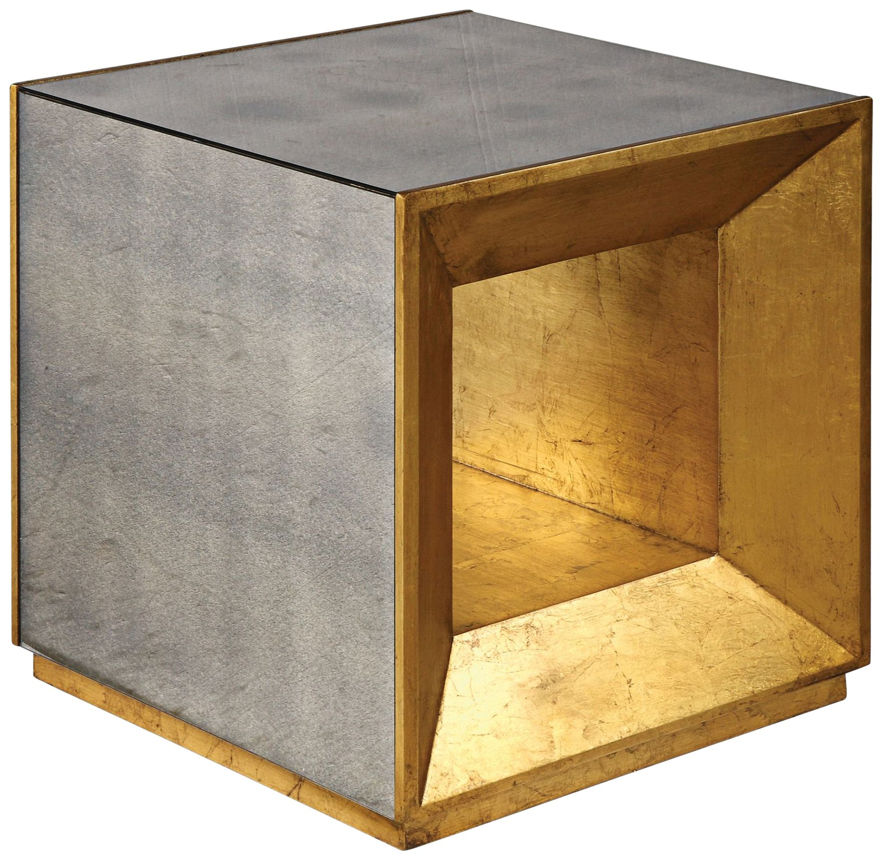 Flair Antiqued Gold And Antiqued Mirror Cube Accent Table