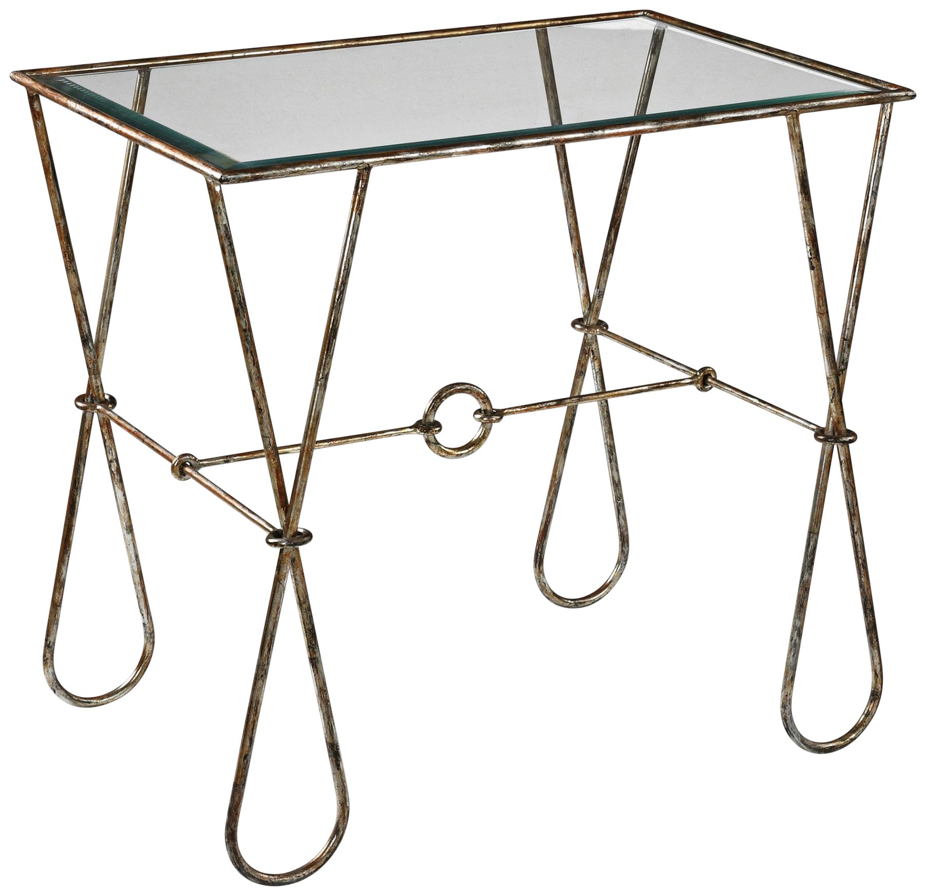 Primrose Glass Top Burnished Silver Leaf Accent Table