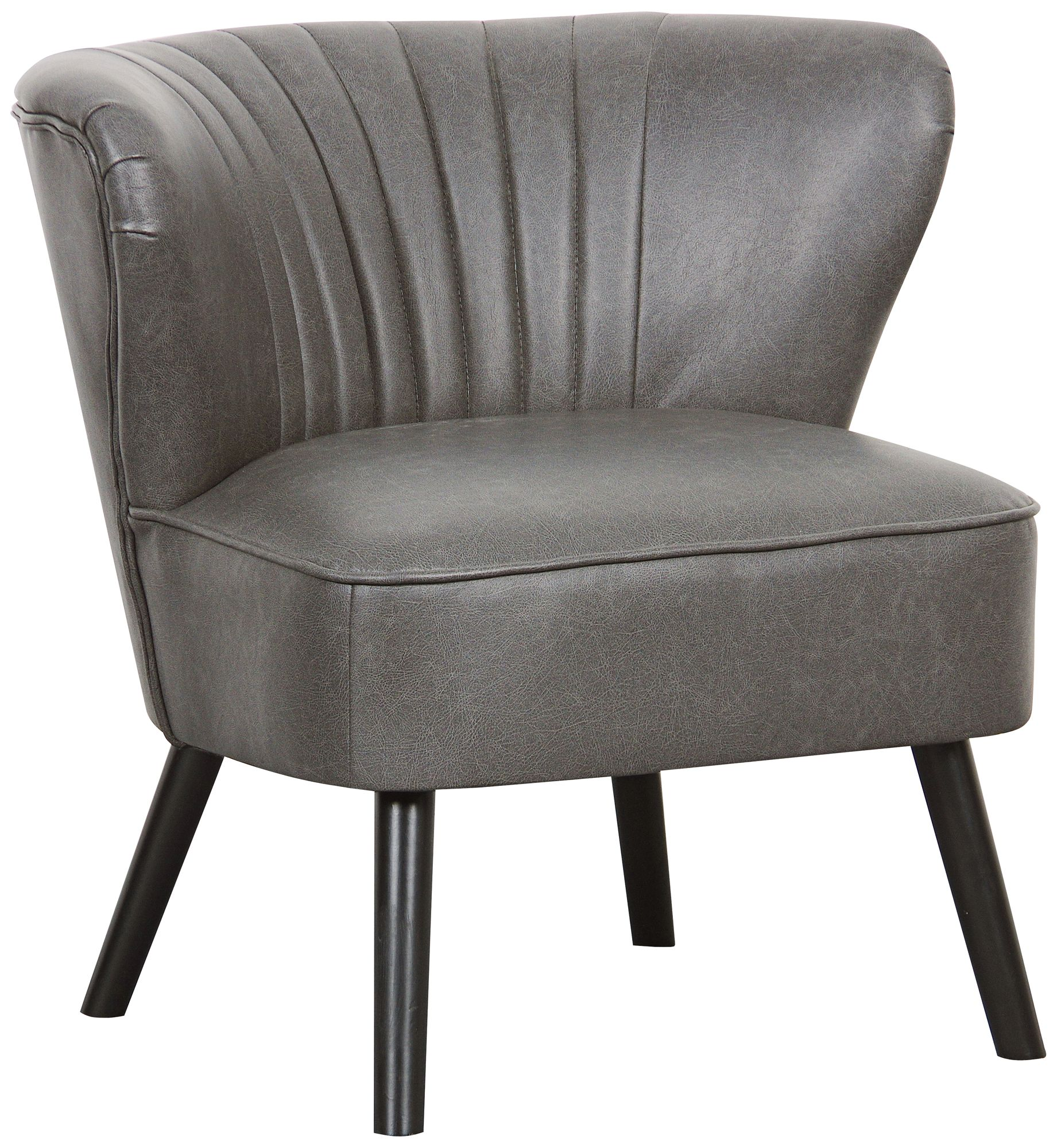 Chandler Lummus Steel Faux Leather Wingback Accent Chair