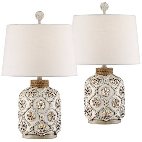 Knots Island Antique White Night Light Table Lamps Set of 2