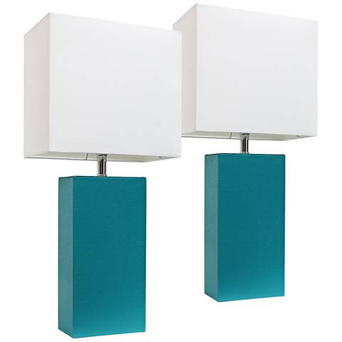 Albers Teal Leather Accent Table Lamp Set of 2
