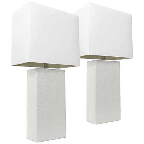 Albers White Leather Accent Table Lamp Set of 2