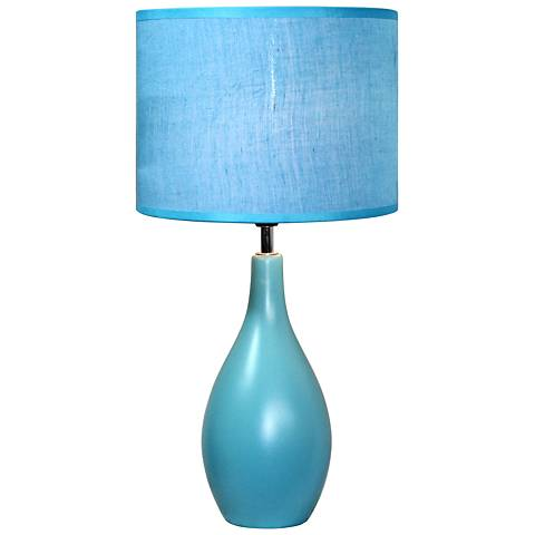 "Loma Blue 19""H Oval Bowling Pin Ceramic Accent Table Lamp"