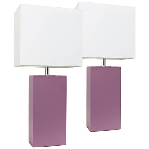 Albers Purple Leather Accent Table Lamp Set of 2