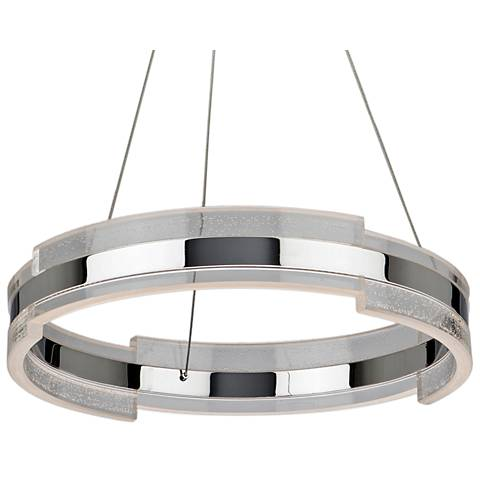 "Artcraft Saturn 24"" Wide Chrome and Clear LED Pendant Light"