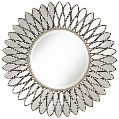 """Helios Warm Silver 36"""" Sunburst Wall Mirror"""