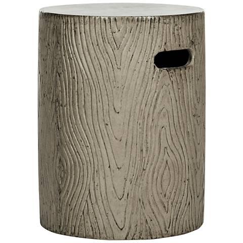 Trunk Dark Gray Concrete Round Indoor-Outdoor Accent Table