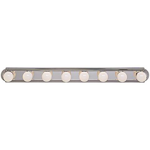 "Chrome Eight Light 48"" Wide Bathroom Light Fixture"