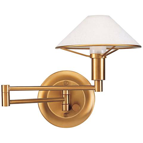 Holtkoetter Antique Brass Satin White Swing Arm Wall Lamp