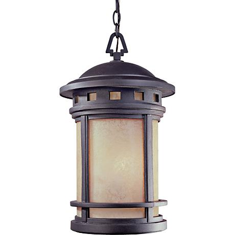 "Sedona 19""H Amber Glass Bronze Outdoor Hanging Light"