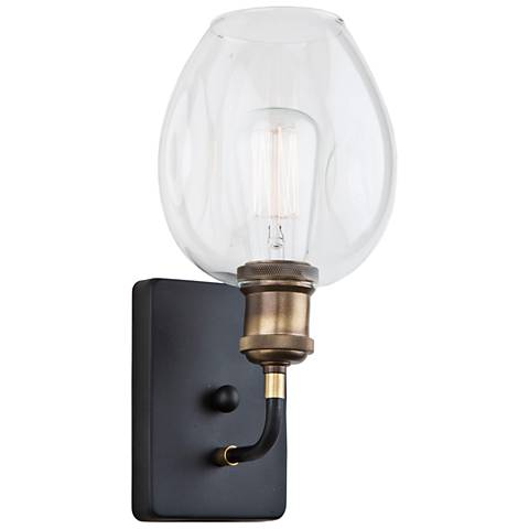 """Artcraft Clearwater 12""""H Vintage Brass and Black Wall Sconce"""