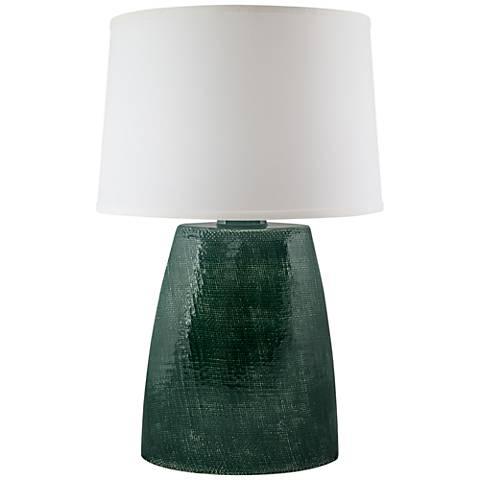 Ellis Jade Crackle Gloss Burlap Ceramic Table Lamp