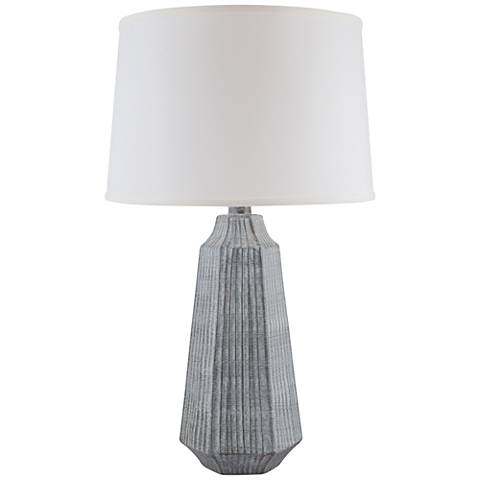 Melinda White Washed Gray Faceted Ceramic Table Lamp