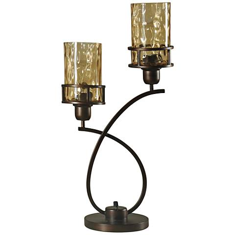 Consuela Bronze Metal and Glass Uplight with Base Switch