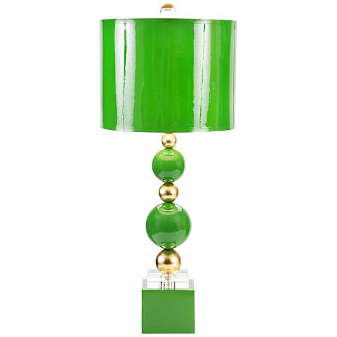 Couture Meg Caswell Sheridan Kelly Green Lacquer Table Lamp