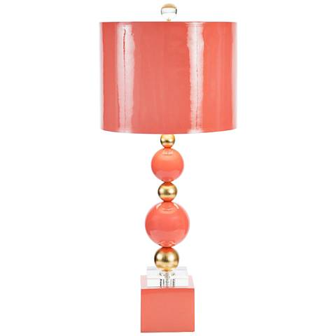 Couture Meg Caswell Sheridan Coral Lacquer Table Lamp