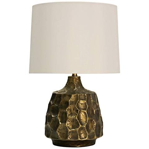 Atwater Antique Brass Bedrock Design Metal Table Lamp