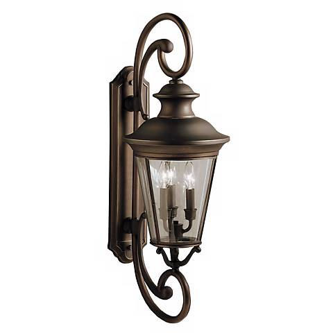 "Kichler Eau Claire 32"" High Double Arm Outdoor Wall Light"