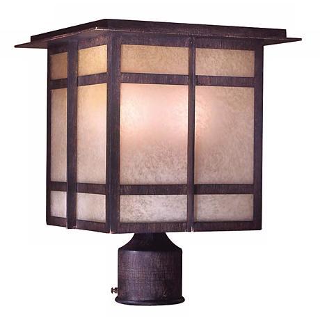 "Delancy 13 3/4"" High Iron Oxide Outdoor Post Light"