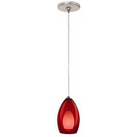 Fire Satin Nickel Red Glass Tech Lighting Mini Pendant