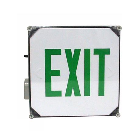 Wet Location Green Emergency Exit Sign