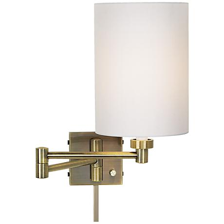 white drum cylinder antique brass swing arm with cord cover 37857 00107 u2363 lamps plus. Black Bedroom Furniture Sets. Home Design Ideas