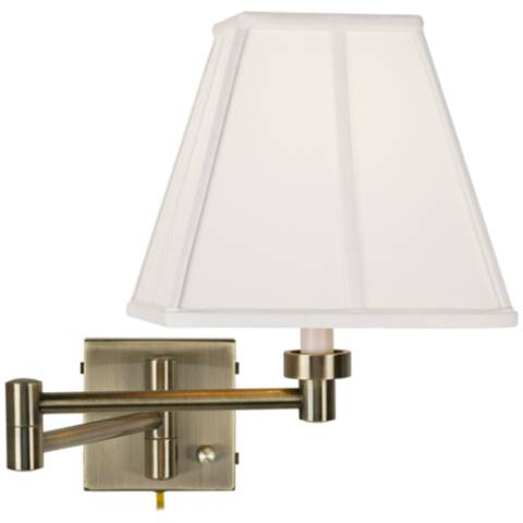 Square Wall Lamp Shades : Ivory Square Shade Antique Brass Plug-In Swing Arm Wall Lamp - #37857-23875 Lamps Plus