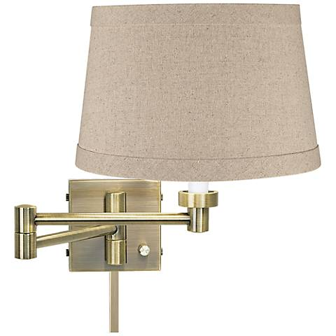 Natural Linen Drum Antique Brass Swing Arm with Cord Cover