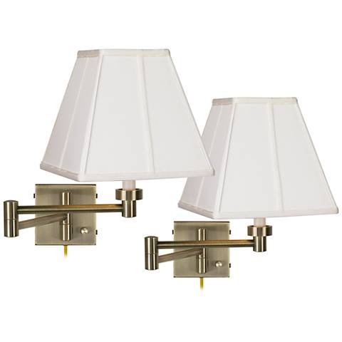 Set of 2 Antique Brass Ivory Shade Swing Arm Wall Lamps