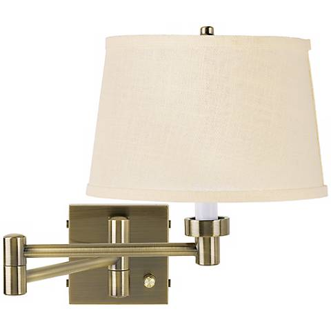 Cream Burlap Shade Antique Brass Plug-In Swing Arm Wall Lamp