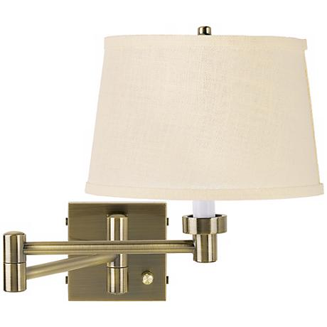 Cream Wall Lamp Shades : Cream Burlap Shade Antique Brass Plug-In Swing Arm Wall Lamp - #37857-4R333 Lamps Plus