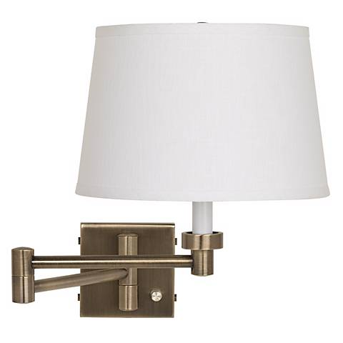 Antique Brass with White Linen Shade Plug-In Swing Arm Wall Lamp - #37857-K4850 Lamps Plus