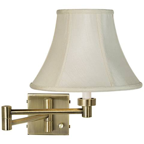 Creme Bell Shade Antique Brass Plug-In Swing Arm Wall Light