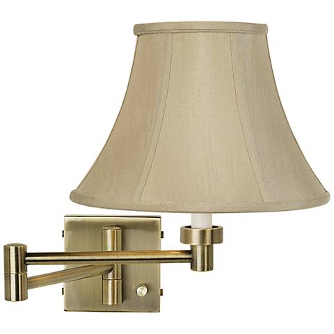 Taupe Bell Shade Antique Brass Plug-In Swing Arm Wall Light