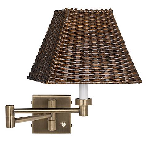 antique brass with wicker shade plug in swing arm wall lamp 37857 u1248 lamps plus. Black Bedroom Furniture Sets. Home Design Ideas
