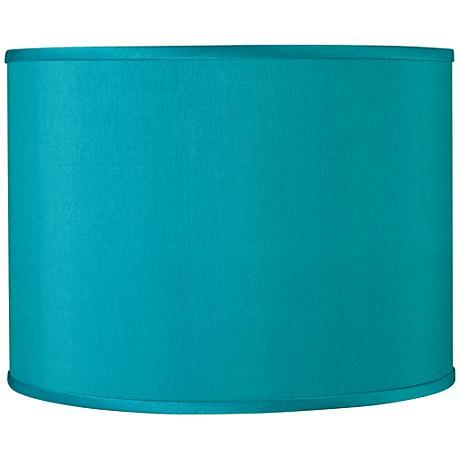 Teal Blue Faux Silk Lamp Shade 13.5x13.5x10 (Spider)