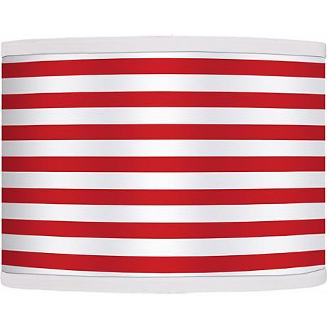 Red Horizontal Stripe Giclee Shade 13.5x13.5x10 (Spider)